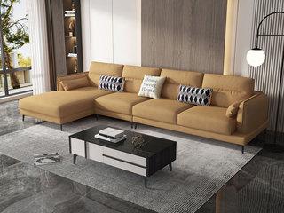 现代简约 优质科技布 实木框架+公仔棉 1+3+右贵妃 沙发组合