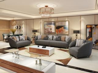 北欧实木布艺沙发组合小户型 深灰色1+2+4沙发套装
