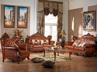 进口桃花芯木 实木头层皮沙发 美式古典风格 1+2+3沙发