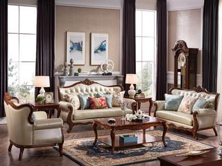浅樱桃色优质桃花芯木 美式风格 沙发组合1+2+3