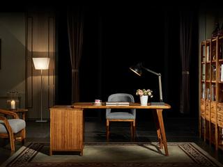 简乌金系列 乌金木(面板,侧板、背板、抽面、底框、脚)+柜桶松木(抽屉)+铜制拉手书台