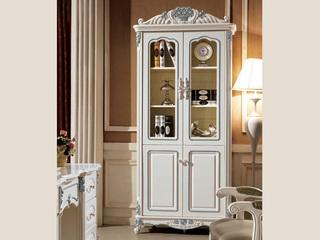 橡胶木框架+玻璃米白两门书柜