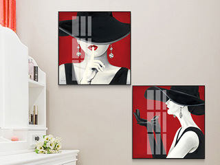 人物装饰画现代简约客厅挂画美女现代简约北欧风格抽象艺术轻奢壁画玄关画(两联画)