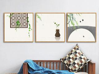 新中式田园沙发背景卧室餐厅墙面现代茶室茶馆墙画(三联画)