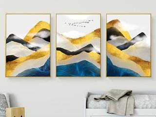 金色大气客厅装饰画抽象水墙画金山银山背有靠山北欧玄关轻奢挂画 三联画