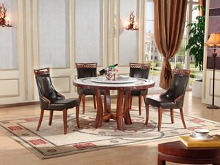大理石餐桌圆形 圆桌带转盘饭桌小户型家用