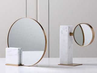 大理石加铜两件套大理石梳妆镜(包邮)