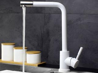 【包邮 送货到楼下(偏远地区除外)】 抗锈304不锈钢360度自由旋转起泡式节水厨房水槽冷热水龙头白色T15BAI