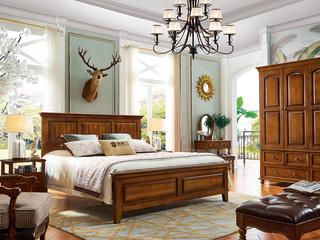 简美风格 金丝柚木色  1.8米 实木床