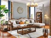 维格兰 简美风格 进口橡胶木 全实木框架 金丝柚木色 沉稳厚重 店长推荐 美式转角沙发(1+3+左贵妃)