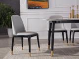 纳德威 现代轻奢 皮艺餐椅 无扶手 全包裹靠背