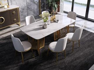 轻奢 样色不锈钢镀金 大理石C17餐桌