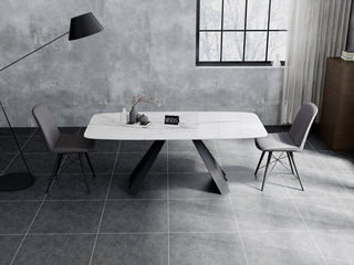意式极简大理石餐桌 T1004白色2.0米长方形餐桌