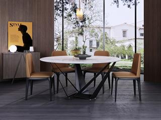 意式极简大理石餐桌 T1011样色1.2米圆形餐桌