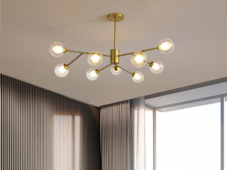 北欧风格 金色铁艺烤漆+玻璃8036-9吊灯(含G9光源5w暖光)