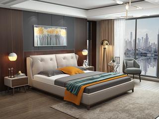 轻奢系列 米白色  1.8米 舒适软靠+白腊木框架 皮艺床