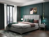 皮坊工藝 輕奢系列109床 1.8*2.0米淺灰色布藝床