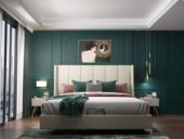 皮坊工藝 輕奢系列109床 1.5*2.0米米黃色布藝床