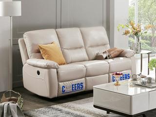 头等舱头层牛皮客厅真皮功能沙发电动小户型组合芝华士三人位象牙白(电动可躺)(此款不含抱枕)