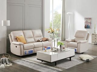 头等舱头层牛皮客厅真皮功能沙发 三人电动 单人手动可摇可躺 小户型组合芝华士象牙白沙发组合(1+3)(此款不含抱枕)