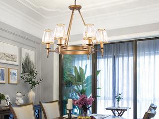 轻奢 铁艺+水晶罩1633-6 古铜色吊灯(含E27光头强暖光12W)