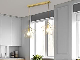 北欧 铜本色8823-2餐吊灯(含E27龙珠泡暖光7W)