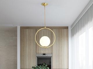 北欧 铜本色8826-1D餐吊灯(含E14尖泡5W暖光)