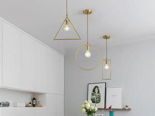 北欧 铜本色8827-1DE 三角餐吊灯(含E27矮泡暖光5W)