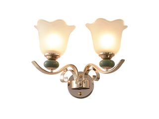 简欧 陶瓷+玻璃+S金2701-2W壁灯(含E27矮泡暖光5W)