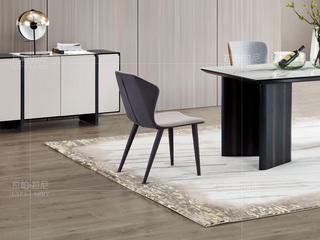 极简系列 鹿茸布+黑沙金属脚灰色餐椅