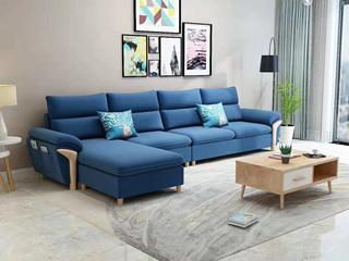 现代X1688B布艺沙发组合 深蓝色