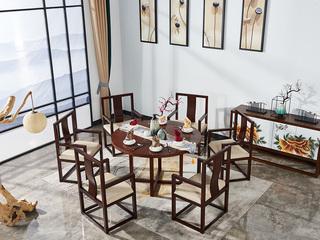 现代新中式圆餐桌