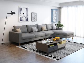 北欧 透气棉麻布艺 俄罗斯进口落叶松坚固实木框架 浅灰色 沙发组合(1+3+左贵妃)