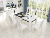 米勒 现代简约 实木框架+钢化玻璃餐桌