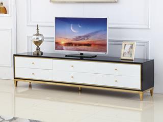 轻奢风格 钢化玻璃台面 黑白色电视柜
