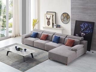 现代简约 优质麻布布艺沙发 进口落叶松坚固框架沙发组合(1+3+左贵妃)
