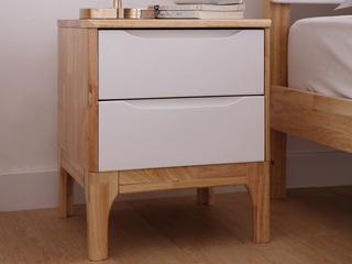 北欧风格 泰国进口橡胶木床头柜