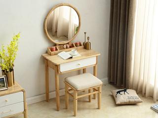 北欧风格 泰国进口橡胶木小妆台+妆凳