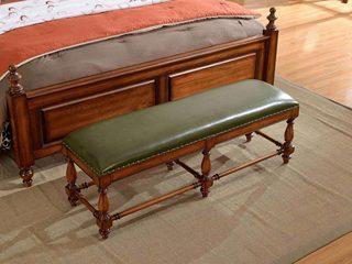 简美风格 北美鹅掌楸木 头层油腊皮 床尾凳