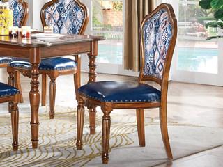简美风格 北美鹅掌楸木 仿真油腊皮+布艺餐椅