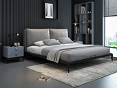 奢工 潮品系列 极简风格 805床 1.8*2.0米 灰色 头层黄牛皮床