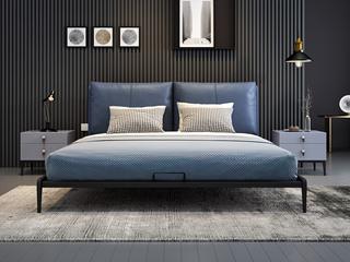 奢工 潮品系列 极简风格 805床 1.5*2.0米 蓝色 头层黄牛皮床
