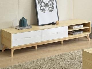 斯可馨 现代简约小户型客厅家具 现代简约 原木色 储物烤漆电视柜