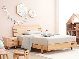 北欧风格 榉木坚固框架 手工木蜡油工艺 曲奇色 ET6101儿童床 1.5*1.9米儿童床
