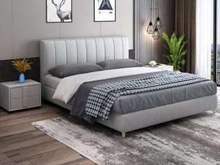 现代简约 优质细麻软靠+实木框架 浅灰色1.8米床