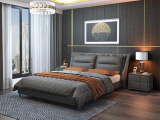 现代简约 充盈皮艺软靠+白腊木 灰色1.8米床