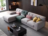 芬洛 現代簡約 進口樟子松堅固框架 超柔壓花  彈簧底坐 沙發組合(1+3+右貴妃)