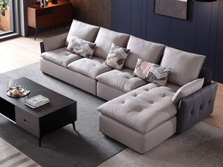 现代简约 进口樟子松坚固框架 科技布 羽绒+乳胶 326 弹簧底坐 沙发组合(1+3+左贵妃)