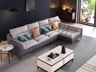 现代简约 进口樟子松坚固框架 科技布 羽绒+乳胶 330 弹簧底坐 2+2+贵妃踏 沙发组合( 不分左右)