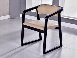 现代简约 米黄色 白蜡木 皮艺扶手餐椅